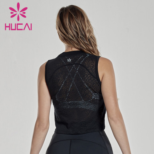 Thin gauze perspective sports smock show thin sleeveless fitness clothes running quick drying vest blank activewear wholesale