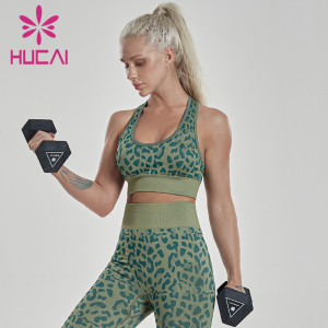 Leopard sports bra women's back fitness low strength shockproof tank top Yoga underwear anti sagging uk activewear manufacturers