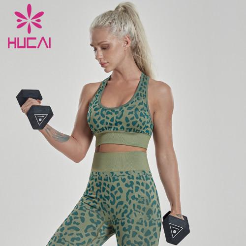Leopard sports bra women's back fitness low strength shockproof vest Yoga underwear anti sagging uk activewear manufacturers