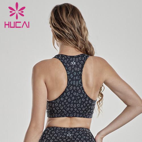 Polka Dot leopard print beautiful back double cross belt professional fitness running underwear no steel ring sports bra female