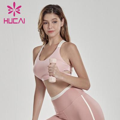 Sports underwear shock absorption running retro fashion splicing fitness tank top for women sportswear design companies
