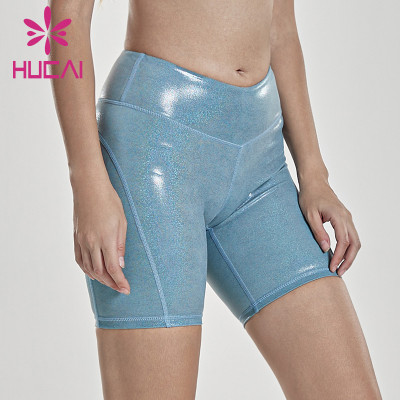 wholesale leggings and shorts gym Leather proof fitness shorts women's high waist