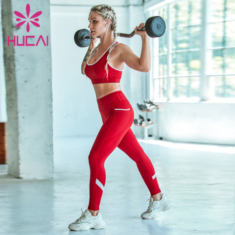 wholesale gym wear Big red fitness suit back sports underwear white stitching fitness pants