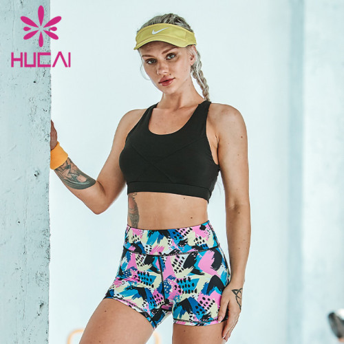 blank fitness apparel wholesale camouflage printing  fitness suit women's Top Shorts sports Yoga suit