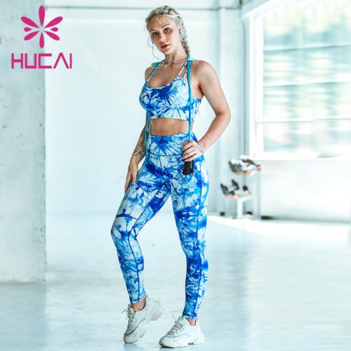 custom gym clothing manufacturers Tie dye women's printed Yoga suit