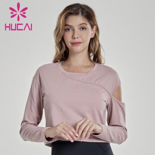 Wholesale gym t shirts women's casual short quick dry irregular sports jacket
