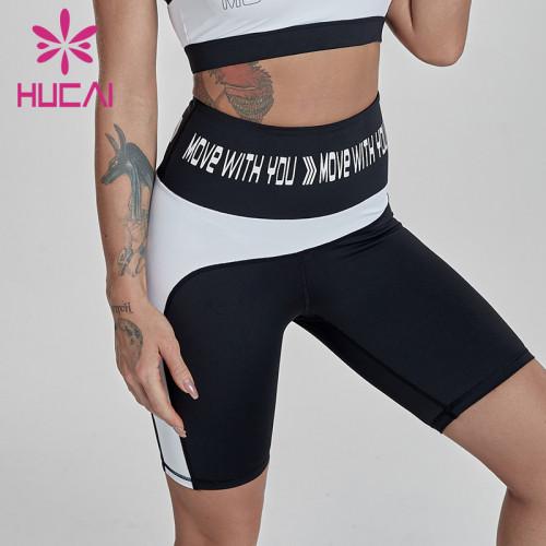 Black and white stitching high waist fitness shorts women's athletic shorts wholesale