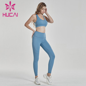 Light blue fitness suit back cross bra with hip lifting pants private label fitness apparel manufacturers