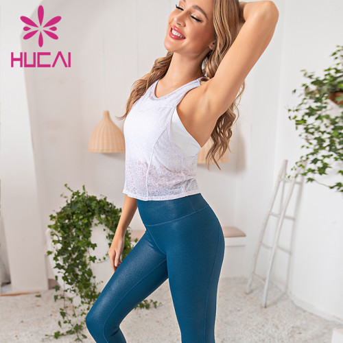 Gauze sportswear suit silver bright fitness tights athletic clothing wholesale