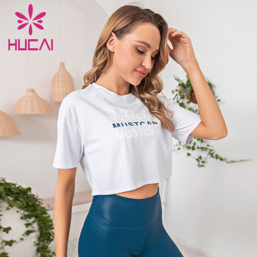 Loose short sleeve fitness T-shirt fitness suit private label workout clothes