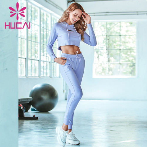 Hooded long sleeve sports suit light blue short fitness suit private label fitness apparel manufacturers
