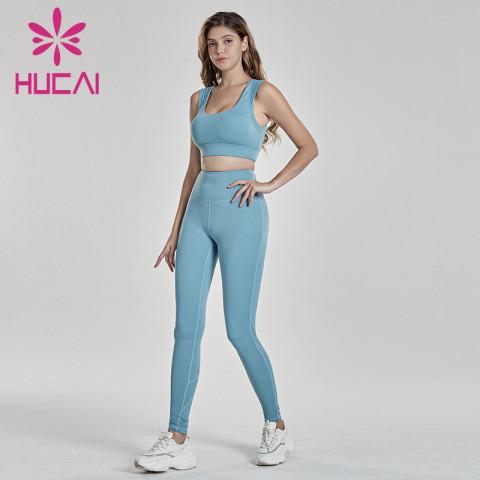 Outdoor running fitness suit with super elastic broad shoulder bra activewear wholesale suppliers