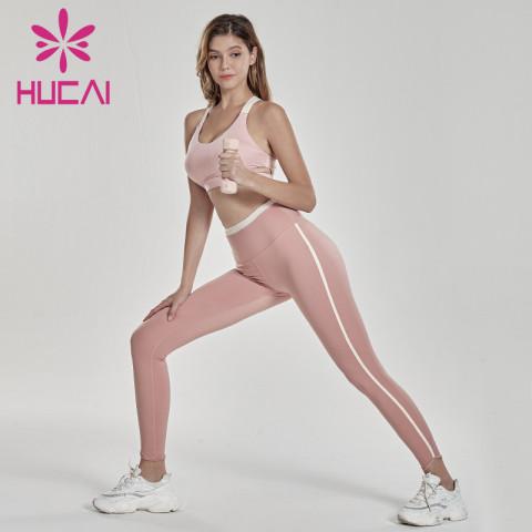 Women's open navel Yoga bra two piece sports suit wholesale athletic apparel