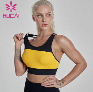 Yellow sports underwear women's shockproof running fitness suit athletic wear manufacturers usa