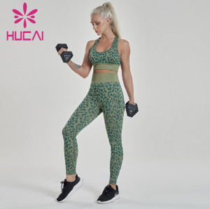Army green fitness suit leopard print athletic apparel wholesale