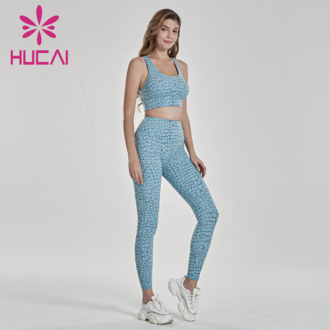 Crushed stone Plaid printed tights large hip lift quick dry running bra suit tracksuit manufacturing