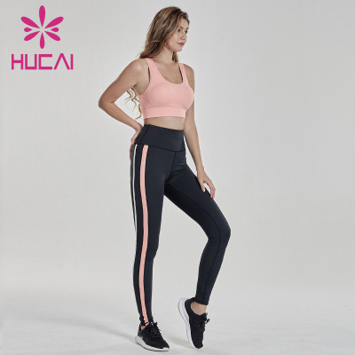 Pink fitness bra with sideband fitness Pants Set wholesale womens workout clothes