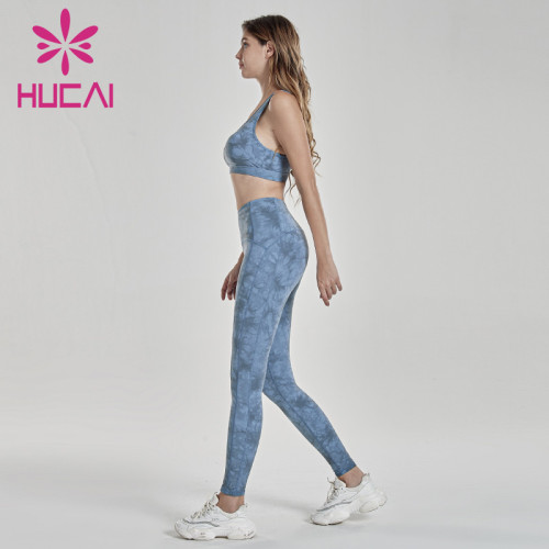 Halo dyeing process printing of light blue fitness suit womens workout clothes wholesale