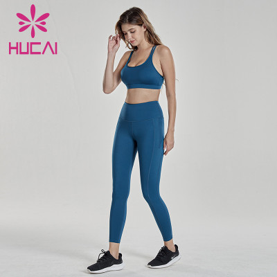 Royal Blue fitness bra with fitness pants suit womens fitness clothing wholesale