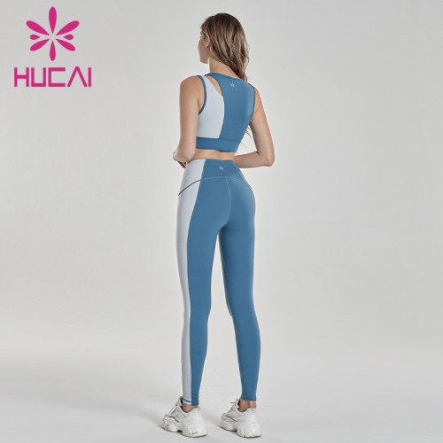 Two color stitching shockless blue white running bra athletic clothing manufacturers