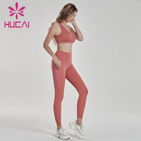 Brick red fitness suit irregular bra fitness suit usa sportswear manufacturers