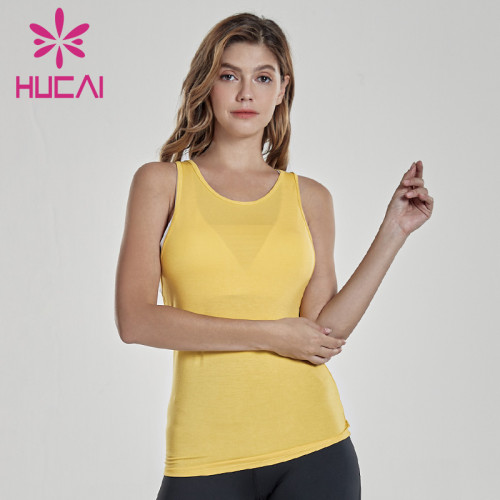 Fitness clothing wholesale yellow open back sports vest fold waist top fitness apparel wholesale
