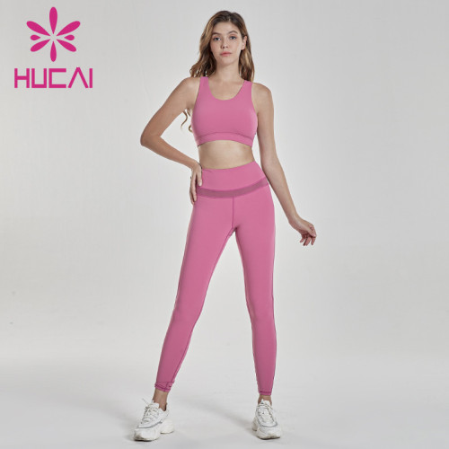 wholesale sportswear apparel rose red fitness suit bra with tights