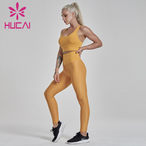 customize workout yellow fitness suit Fishscale pleated tights