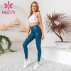 Blue gilded yoga pants with white tank tops fitness suit blank activewear wholesale