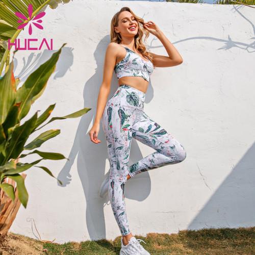 Leaf print fashion fitness suit custom printed activewear