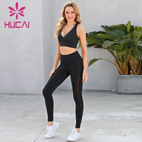 Cross sexy bra splicing pants fitness suit activewear wholesale suppliers
