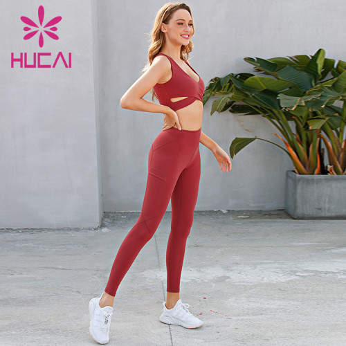 Red vest cross bra narrow elastic fitness pants suit activewear suppliers china