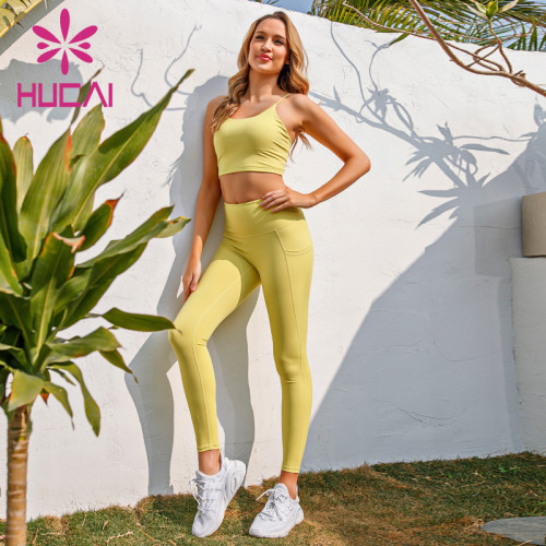 Yellow suspender underwear high waist and hip lifting fitness suit activewear wholesale apparel