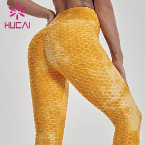 customized fold over yoga pants yellow high waisted legging