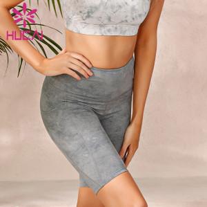 Wholesale plus size biker shorts imitation denim printed sports pants