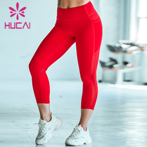 wholesale high waisted workout leggings mesh high waist red Yoga Pants