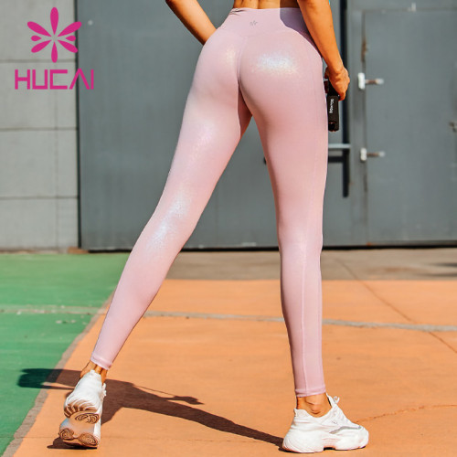 wholesale pink yoga leggings high waisted Imitation leather gilded flash Yoga Pants