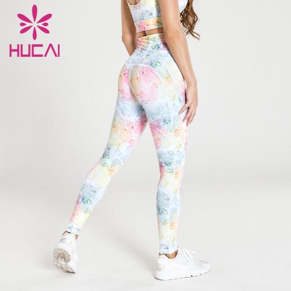 wholesale womens printed yoga leggings high waist breech pants