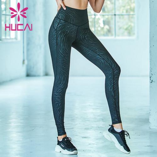 Wholesale printed blue yoga leggings high quality hip-lifting athletic pants