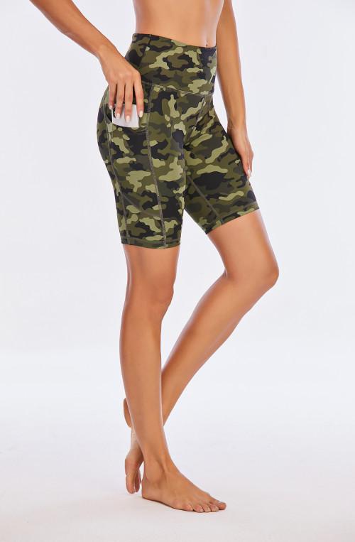 camo printed biker shorts wholesale women high waisted legging