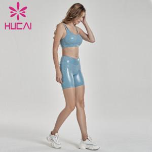 women blue Imitation skin biker shorts set wholesale