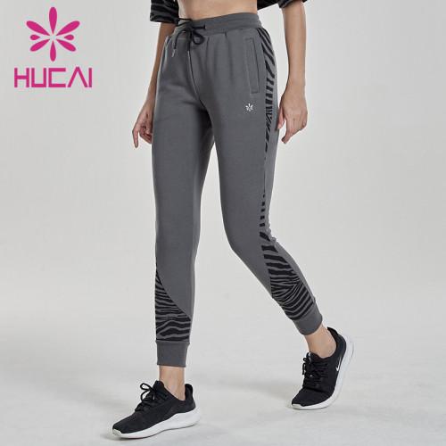 Custom women drawstring jogger pants leopard printed Splicing