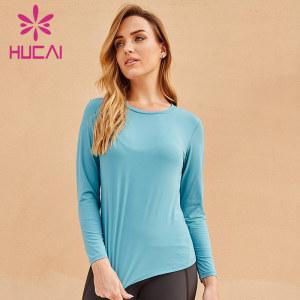 Wholesale gym crew neck blue Long sleeve t shirts
