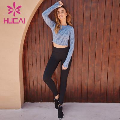 Wholesale Sportswear Apparel Blue-Grey Long-Sleeved Sportswear And Black Tight Yoga Pants Suit