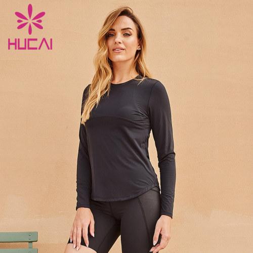 Wholesale long sleeve sports t shirts mesh splicing