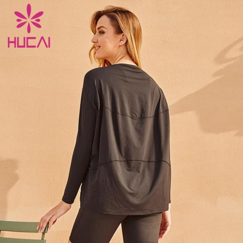 Loose workout Long sleeve black t shirts wholesale