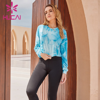 Wholesale Sportswear Apparel Sky Blue Gradient Long-Sleeved Sportswear And Black Tight Yoga Pants