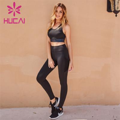 Wholesale Black Activewear Leggings Bra Black Set