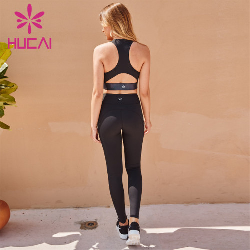 Wholesale Sportswear Apparel Black Waistband Sports Bra With Cross Back And Black Tights