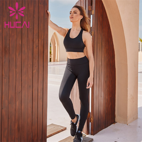 Wholesale Sportswear Apparel Black Sports Underwear And Black Yoga Pants Suit